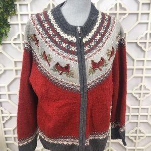 Croft & Barrow Zip Up Cardigan Texture Cardinals